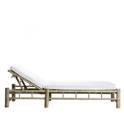 Bambus Sonnenbett mit Matratze | Weiß