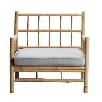 Bambus Lounge Sessel mit Kissen | Grau