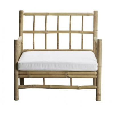 Bambus Lounge Sessel mit Kissen | Elfenbeinweiß