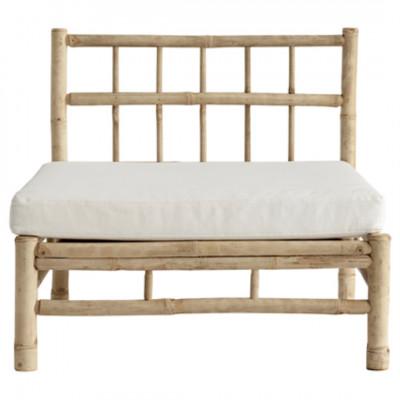 Bambus Lounge Modul mit Kissen | Weiß
