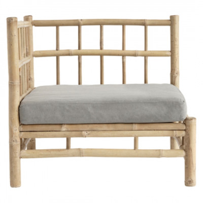 Bamboo Lounge Corner Module with Cushion | Grey