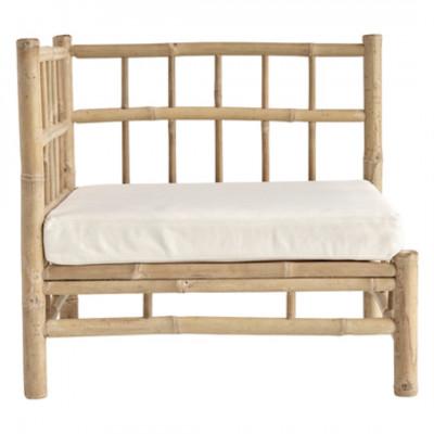 Bambus Lounge Eckmodul mit Kissen | Weiß