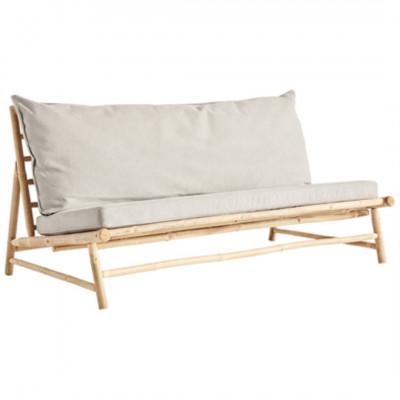 Bambus Lounge Sofa mit Kissen | Grau