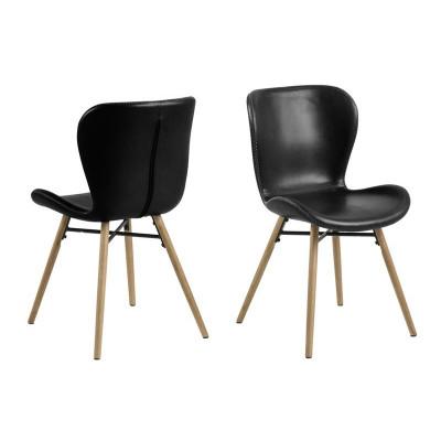 2-er Set Stühle Matilda-A1 | Schwarz & Holz