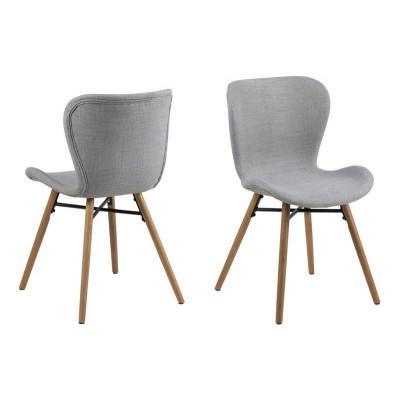 Set of 2 Chairs Matilda-A1 | Light Grey & Wood