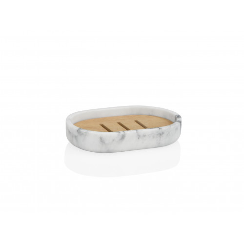 Soap Dish   White Marble Effect / Wood