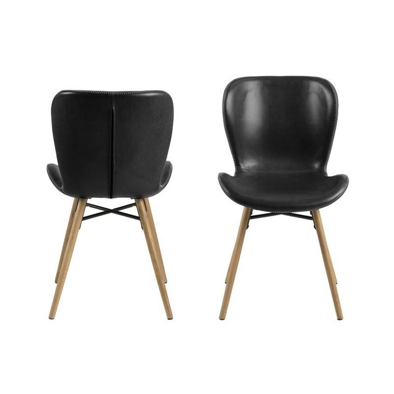 Set of 2 Chairs Matilda-A1   Black & Wood