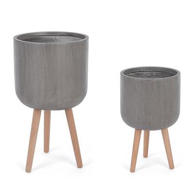 Satz von 2 Modernen Runden Vasen | Taupe