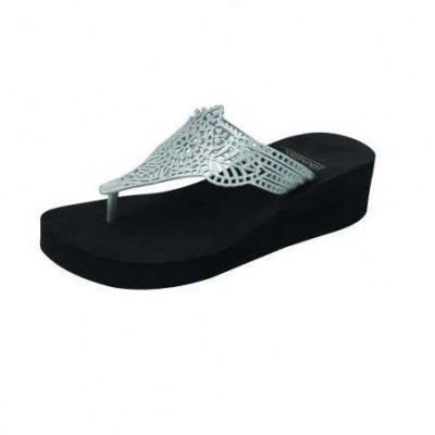 Wedge Slippers India | Black & Silver
