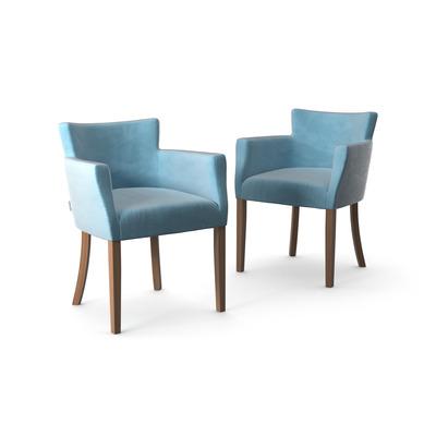 2-er Set Stühle Santal Samt Touch | Braune Beine & Türkis