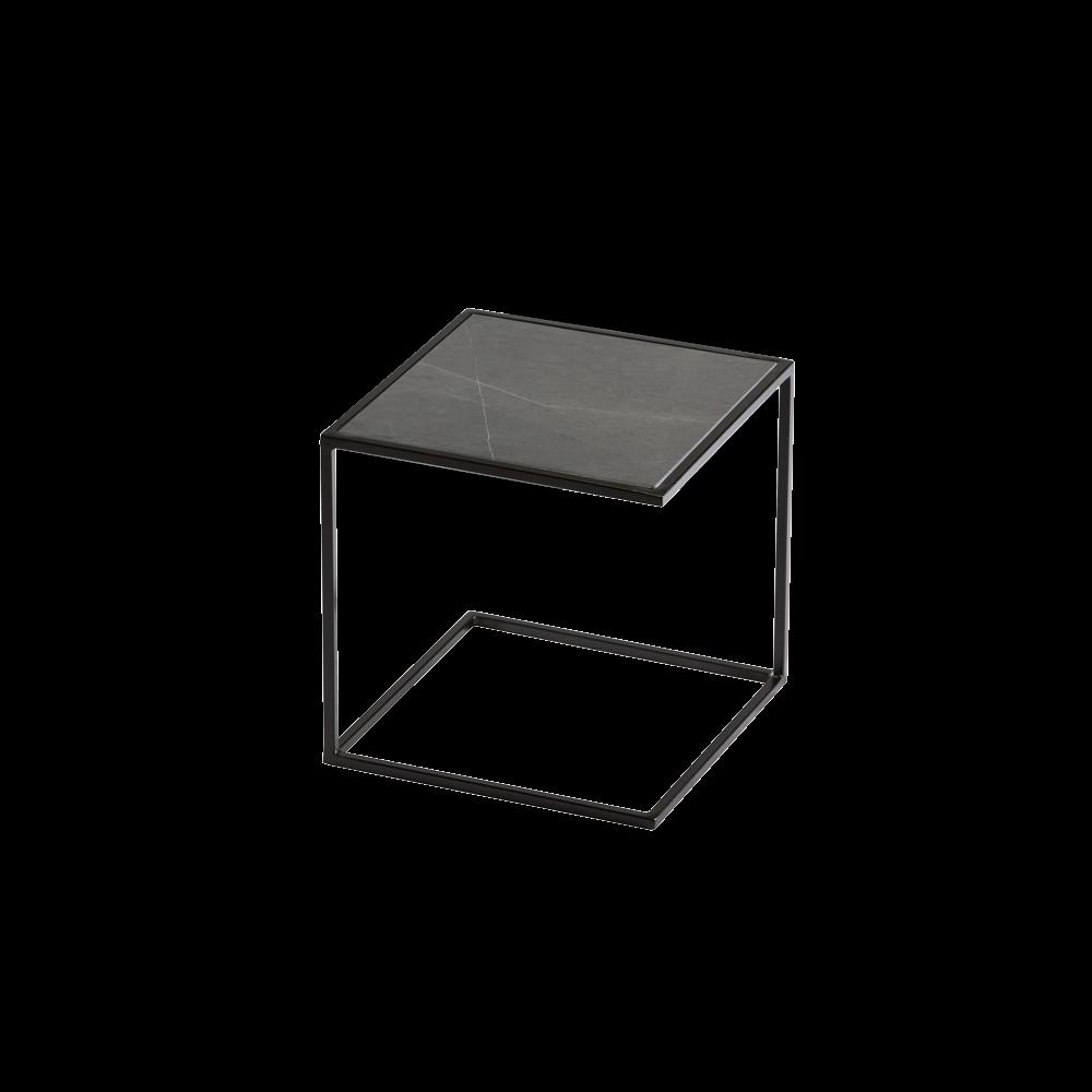 Side Table NOA Steel Frame & Marble | Black & Grey