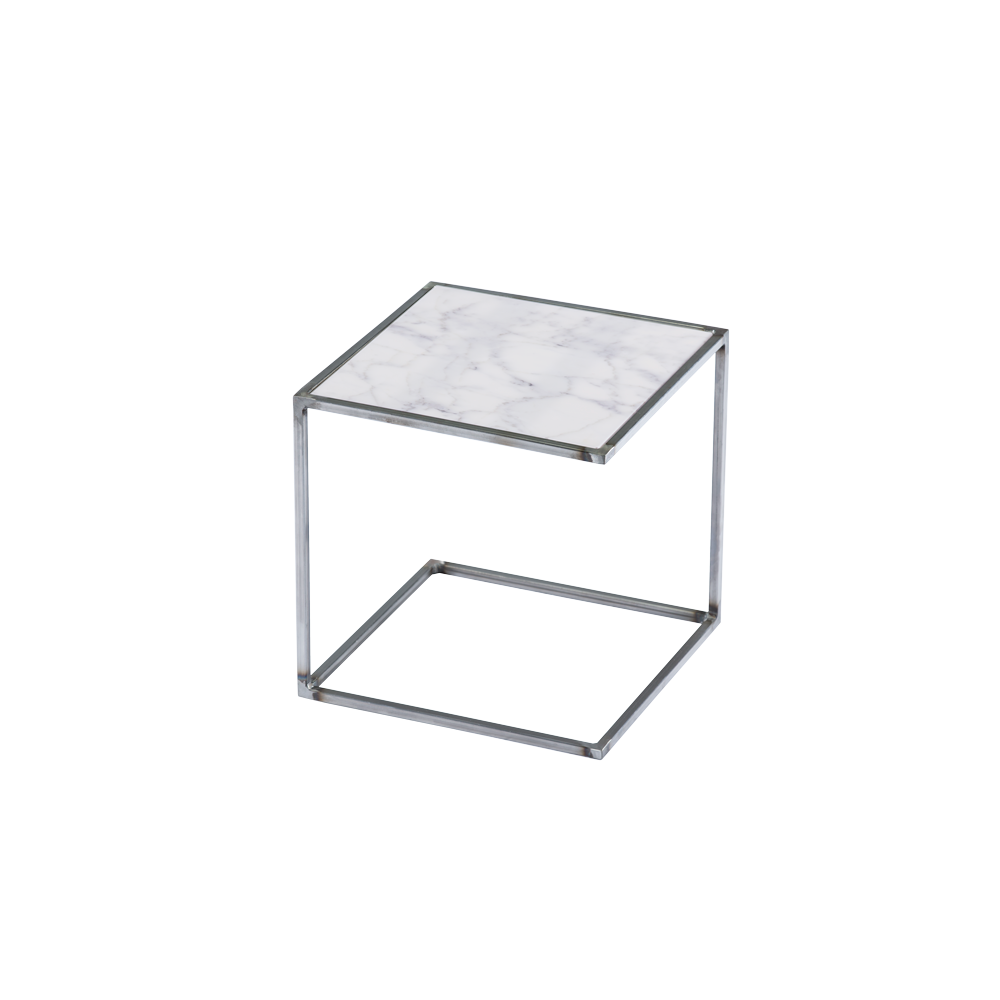 Side Table NOA Untreated Steel Frame & Marble   White