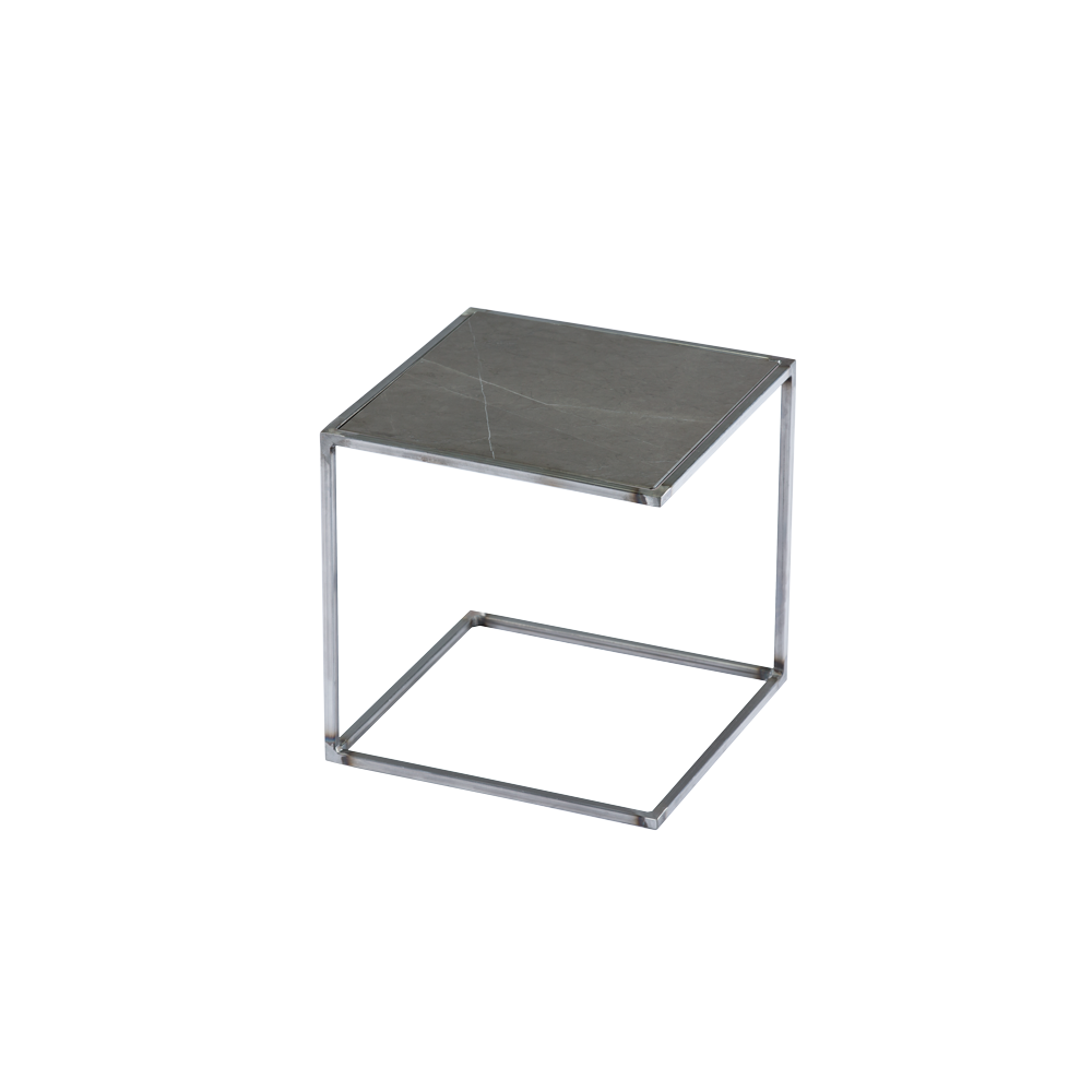 Side Table NOA Untreated Steel Frame & Marble | Grey