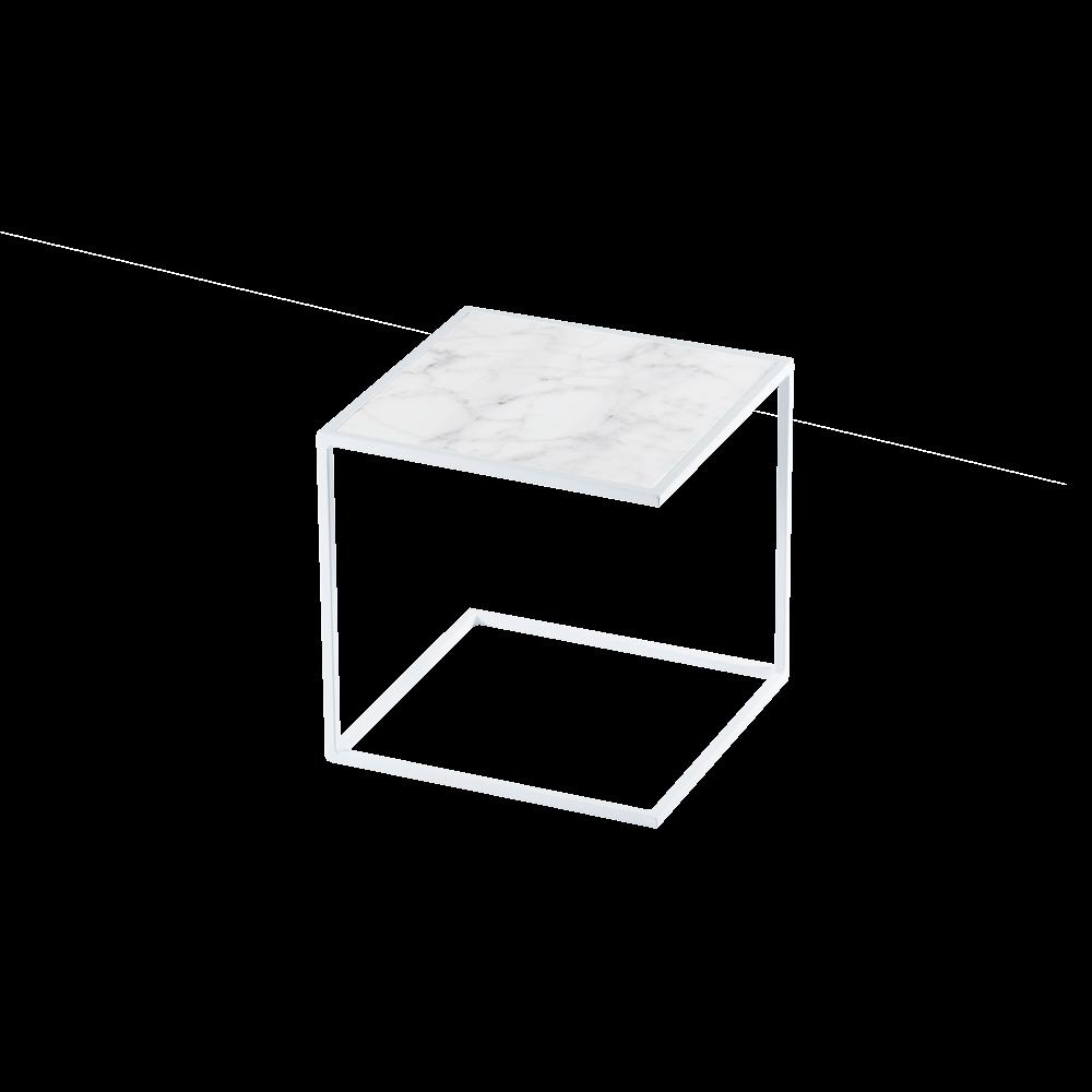 Side Table NOA Steel Frame & Marble | White