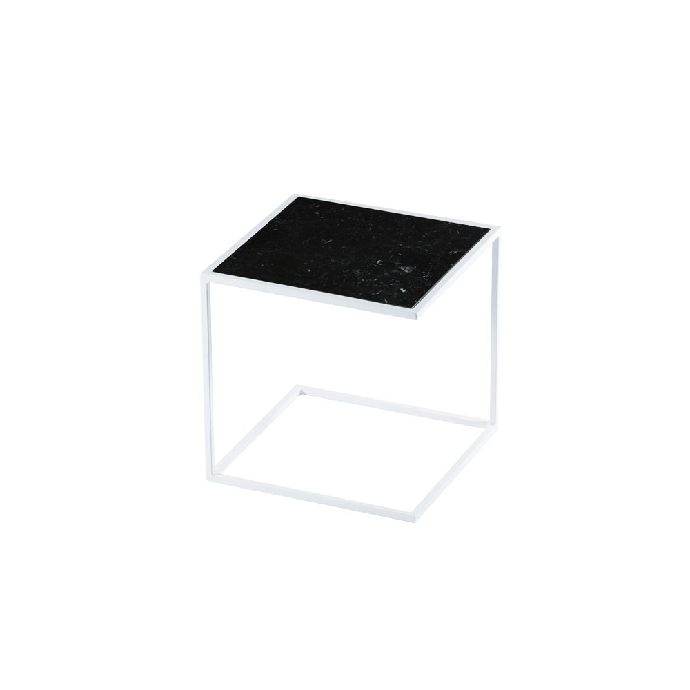 Side Table NOA Steel Frame & Marble | White & Black