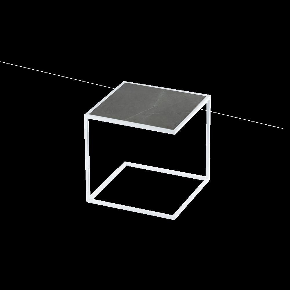 Side Table NOA Steel Frame & Marble   White & Grey
