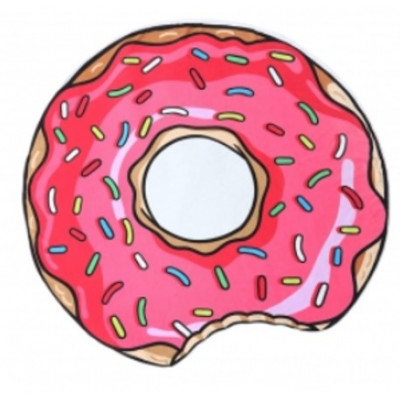 Strandtuch Donut   Weiß & Rosa