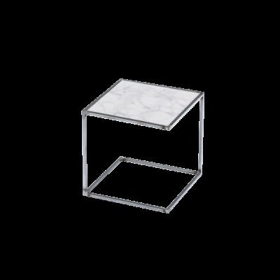 Beistelltisch NOA Unbehandelter Stahlrahmen & Marmor   Weiß