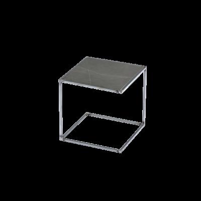 Beistelltisch NOA Unbehandelter Stahlrahmen & Marmor   Grau