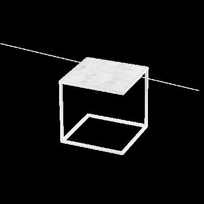 Beistelltisch NOA Stahlrahmen & Marmor   Weiß