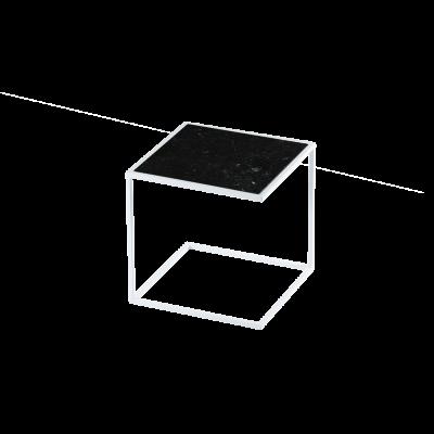 Beistelltisch NOA Stahlrahmen & Marmor   Weiß & Schwarz