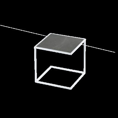 Beistelltisch NOA Stahlrahmen & Marmor   Weiß & Grau