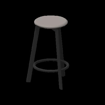 Barhocker Belem 65 cm Stahl pulverbeschichtet / gepolstert | Grau