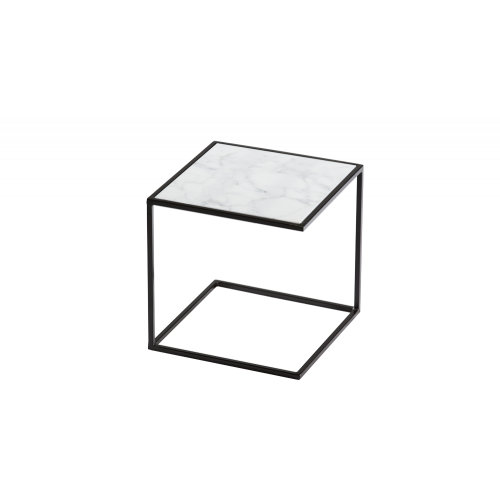 Side Table NOA Steel Frame & Marble | Black & White