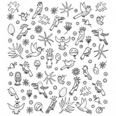 Eva Mouton Coloureable Wall Paper | Bird S