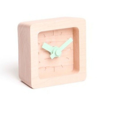 Bit Mini Clock   Maple & Green