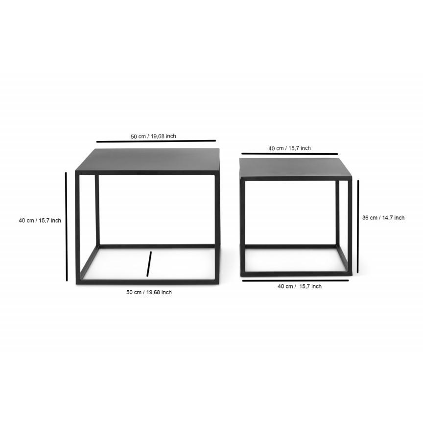 Set of 2 Side Tables Arvid | Black