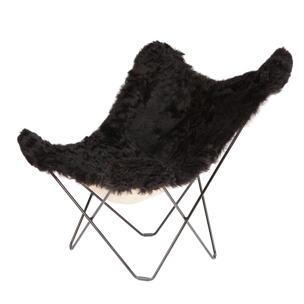 Schmetterling-Stuhl Isländisches Schaffell | Kurz Schwarz / Schwarzes Stahlgestell