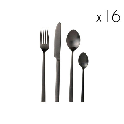 Cutlery 16 Pcs.   Black Satin Finish