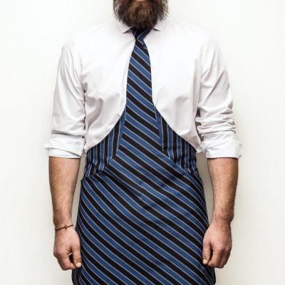 Tie&Apron Chef   Black & Blue Stripe