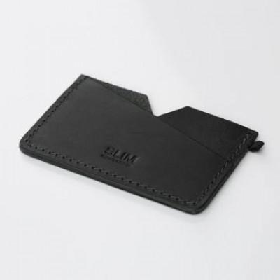 Kartenhalter  Slim | Schwarz Leder