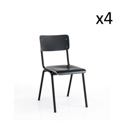4er-Set Stuhl Old School | Schwarz