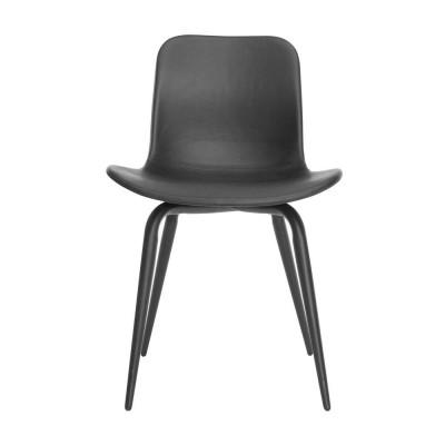 Langue Avantgarde Dining Chair Schwarz - Premium-Leder   Schwarz
