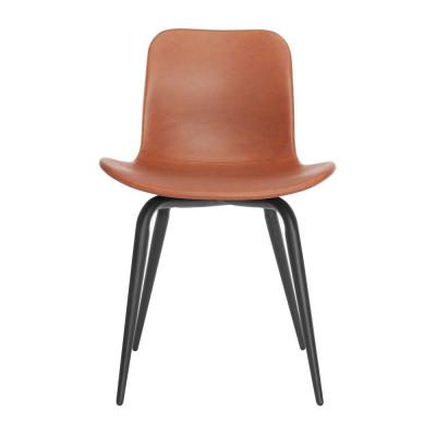 Langue Avantgarde Dining Chair Schwarz - Premium Leder   Brandy