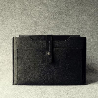 Black & Charcoal Leather Macbook Air Sleeve