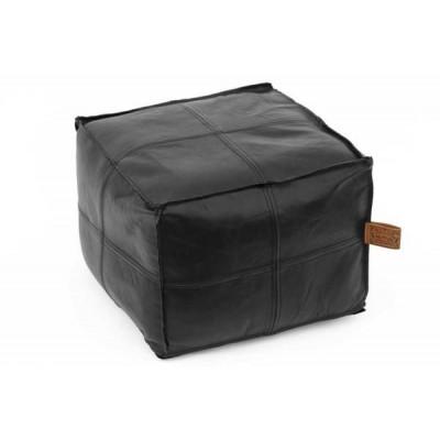Hudson Square Black Leather Pouf