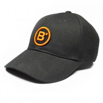 B' Cap Black   Orange Patch