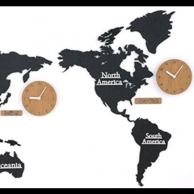 Worldmap & Wall Clock Set   Black & Wood
