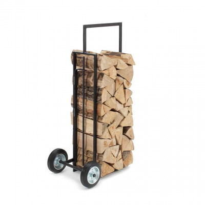 """Firewood rack and trolley """"Brændevogn"""" + fireplace tong / blowpipe + Magnets"""