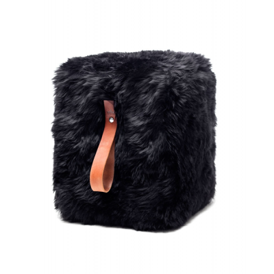 Quadratischer Schafsfell-Puff | Schwarz
