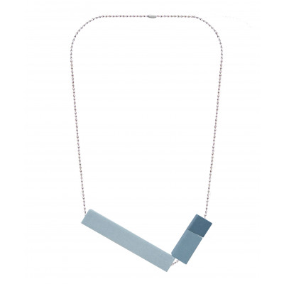 Halskette Big Block Triple | Grau