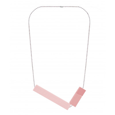 Halskette Big Block Triple | Rosa
