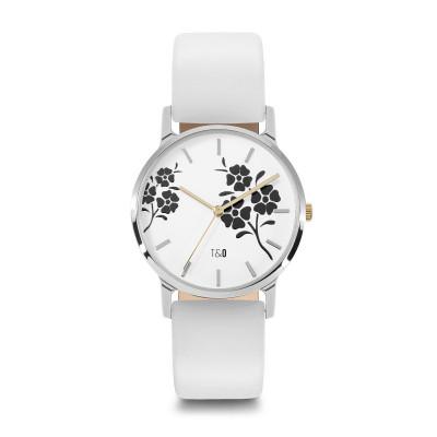 Frauen-Uhr Bloom 34 Leder   Silber/Weiß