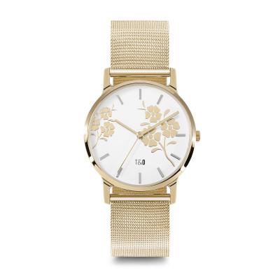 Frauen-Uhr Bloom 34 Mesh   Silber/Weiß