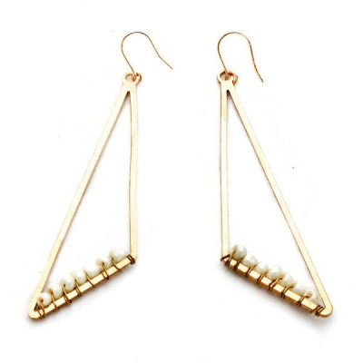 Earrings | Large Beaded Triangle