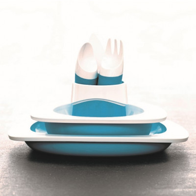 Set aus Teller, Schüssel, Tasse und Kinderbesteck | Blau